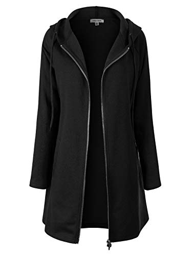 (Instar Mode Women's Casual Loose Fit Long Zip Up Pullover Hoodie Tunic Sweatshirt Jacket (S-3X) Black LX)