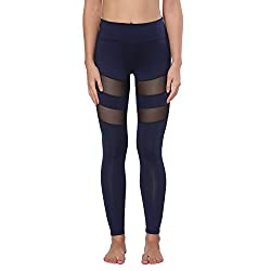 Yoga Pants, Feivo Women's Power Flex Yoga Pants Tummy Control Workout Yoga Capris Pants Leggings,mesh-deep Blue,large