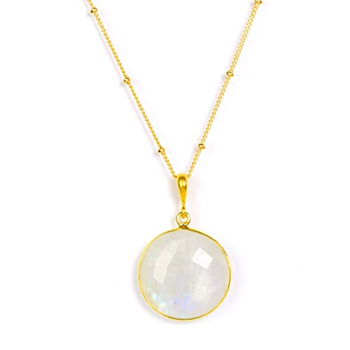 (Large Round Natural Rainbow Moonstone Pendant Necklace, June Birthstone Necklace, Large Moonstone Necklace, 18mm Round Gemstone Necklace)