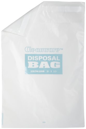 Bel-Art F13174-1008 Cleanware Polyethylene White Self Adhesive Waste Bags; Holds 3 lb, 8 in. W x 10 in. H, 1.0 mil Thick (Pack of 50) from SP Scienceware