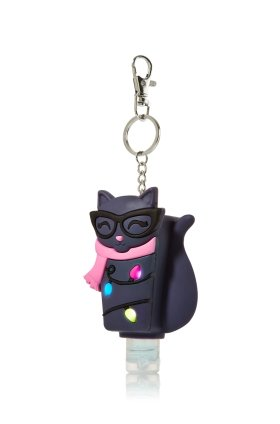(Bath and Body Works Smarty Cat Light Up Pocketbac Keychain Holds Original Rectangle Bottles)