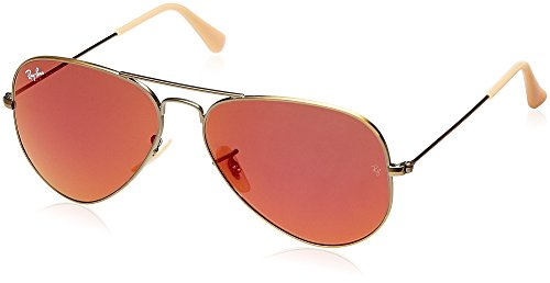 Ray-Ban 0RB3025 Aviator Metal Non-Polarized Sunglasses, Demiglos Brushed Bronze/ Red Mirror, 58mm