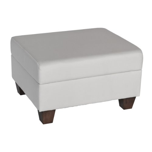 Carolina Cottage Hudson Upholstered Ottoman with Dream Acorn Fabric and Tapered Leg
