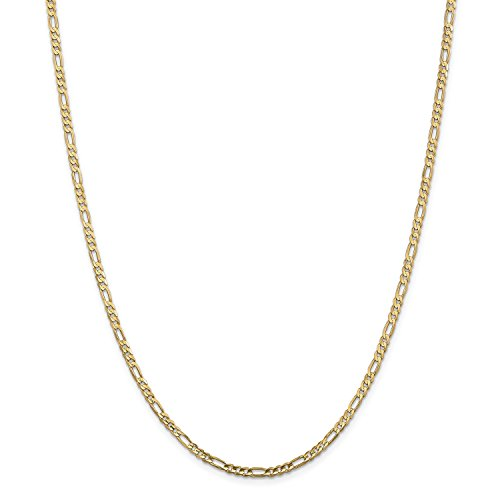 24' Open Link Necklace (Roy Rose Jewelry 14K Yellow Gold 3mm Concave Open Figaro Link Chain Necklace ~ Length 24'' inches)