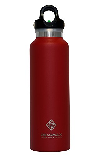 RevoMax Twist Free Insulated Stainless Steel Water Bottle with Standard Mouth, 20 oz, Fire Red