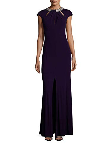 David Meister Embellished Cutout Jersey Evening Gown Dress Navy