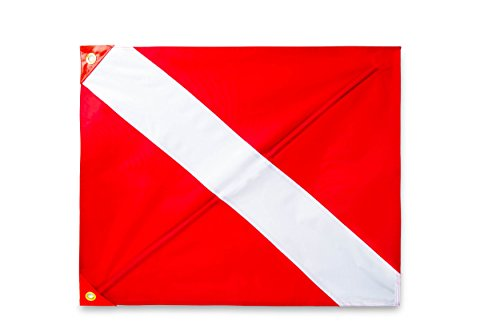 Premium Quality Dive Flag (20 Inch X 24 Inch) with Removable Stiffening Pole Easy to Use Diver Down Red and White Boat Flag (FLORIDA LEGAL) ()