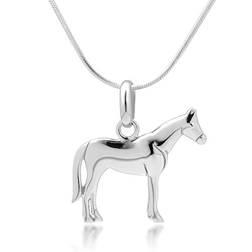 925 Sterling Silver Horse Pony Charm Equestrian Cowgirl Pendant Necklace, 18 inch Snake Chain
