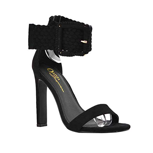 (Women's Open Toe One Band Braided Woven Strappy Buckle Ankle Cuff Heel Sandal Shoes (6, Black) )