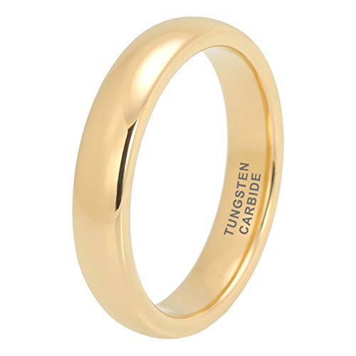 iTungsten 4mm Yellow Gold Tungsten Rings for Men Women Wedding Bands Domed Polished Shiny Comfort Fit