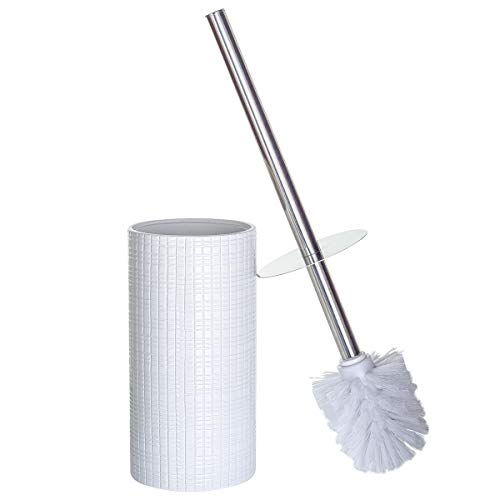 Estella Decorative Bathroom Toilet Brush with Holder and Lid   Cute Covered Loo Scrubber   Rust-Resistant Polyresin Toilet Bowl Cleaner   Beautiful and Contemporary Bath Décor (White and Silver)