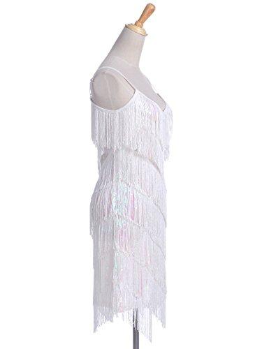 Sangle robe dos 1920 Femmes moderne Anna Blanc soire annes Kaci Mini sans Frange des paillettes de az5gwH