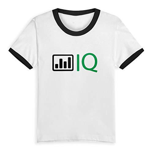 HIGASQ Unisex Baby Energy Filled IQ O Neck Toddler's Short Sleeve Baseball T Shirt for 2-6 Boys Girls Black -