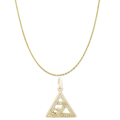 Rembrandt Charms 10K Yellow Gold Bermuda Triangle Charm on a Twist Curb Chain Necklace, 16