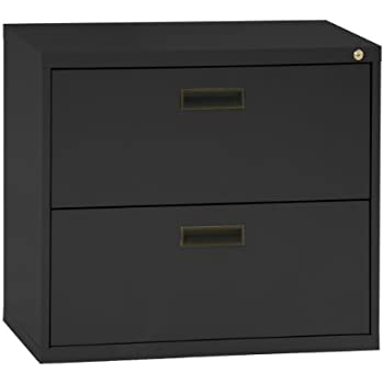 This Item Sandusky 400 Series Black Steel Lateral File Cabinet With Plastic  Handle, 30