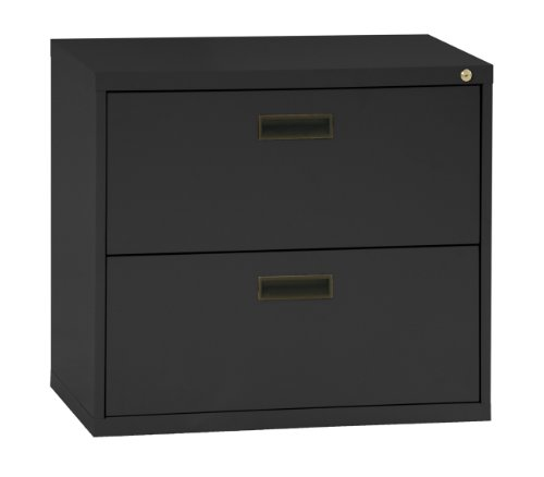 Sandusky 400 Series Black Steel Lateral File Cabinet with Plastic Handle, 30'' Width x 27-1/4'' Height x 18'' Depth, 2 Drawers by Sandusky