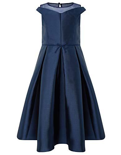 Monsoon Bridget Duchess Satin Dress Partywear Party Dresses - Girls - 7 Years Navy