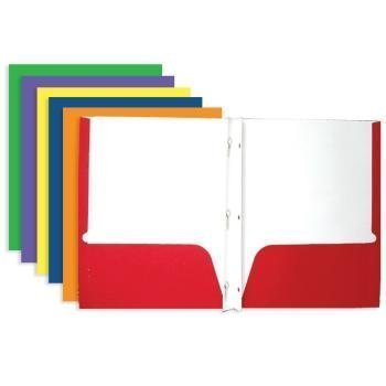 - Bazic 3145 Two-Pocket Portfolio with Three-Prong Fastener, 50 Pack (Colors May Vary)