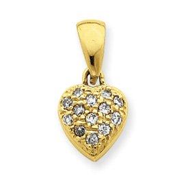 Zircone en forme de cœur 14 Carats Pendentif JewelryWeb