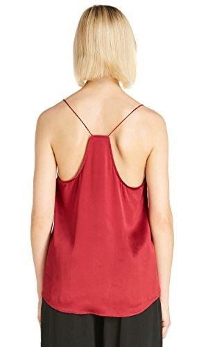 LILYSILK Top Mujer Tirantes Escote con Encaje Exquisito 100% Seda Natural de 22 MM Rojo Vino