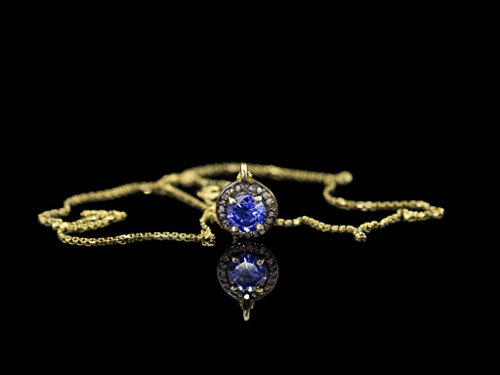 - BEAUTIFUL TANZANITE & GORGEOUS DIAMONDS | Gold necklace with Silver and Black Rhodium (made to order)