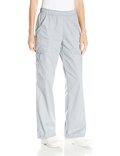 Cherokee Women's Mid-Rise Elastic Waist Cargo Scrubs Pant, Grey, Large ()