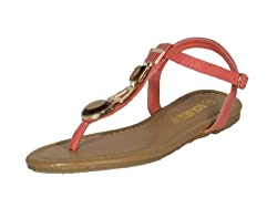 RCK Bella Womens Atina-5 T Strap Front Gold Metallic Jade Decoration Flat Sandal, coral leatherette, 6.5 M US