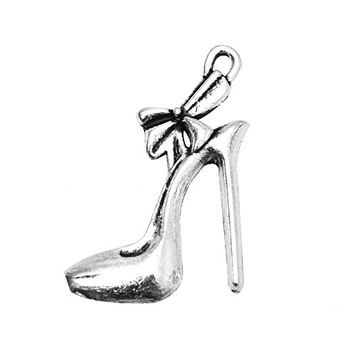 - Monrocco 100PCS Fashion Alloy High-Heeled Shoes Shape Charms Pendant for Women Jewelry Necklace Making Pendants,Silver