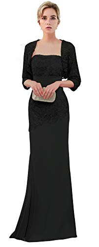 VaniaDress Women Long Mother of The Bride Dress with Jacket Formal Gowns V263LF Black US18W (Black Mother Of The Bride Dresses With Jackets)