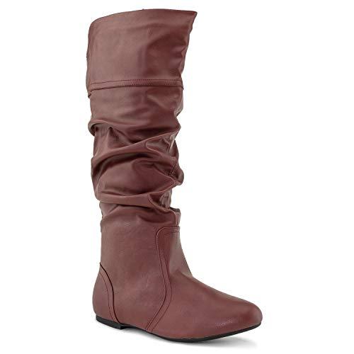 (RF ROOM OF FASHION Medium Calf Slouchy Knee High Boot Wine PU (12) )