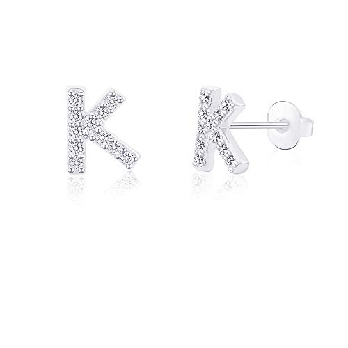 K Initial Letter Earrings for Girls Women Hypoallergenic for Sensitive Ears Nickel Free Tiny Alphabet Stud Earrings 316L Stainless Steel Personalized Monogram Jewelry Silver Bridesmaid Gift