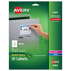 Avery Removable 3-1/3 x 4 Inch White ID Labels 150 Pack ()