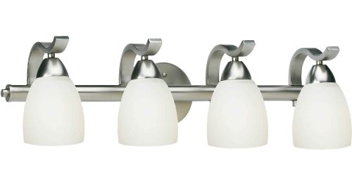 Forte Lighting 5045-04-55 Bath Vanity with Satin Opal Glass Shades, Brushed Nickel