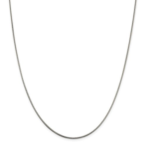 925 Sterling Silver 1.5mm Round Snake Chain Necklace 16 Inch Pendant Charm Fine Jewelry Gifts For Women For Her