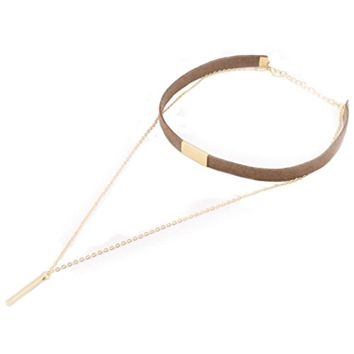 Women Necklace Odeer 2017 Fashion Women Jewelry Charm Star Chain Chunky Choker Necklace (Brown) ()