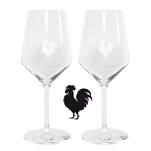 Glass Red Rooster - Italian Red Wine Glasses with the Chianti Classico Black Rooster Gallo Nero Logo from Tuscany - Set of Two Glasses
