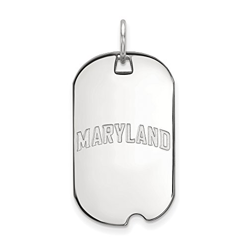 The Black Bow NCAA Sterling Silver Maryland Dog Tag Pendant Necklace - 20 Inch
