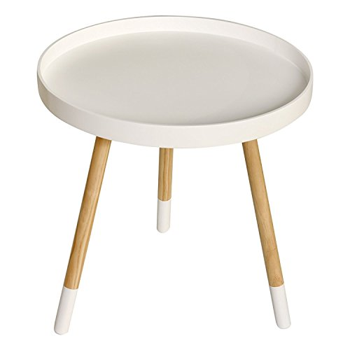 WELLAND Wood End Table with Paint-Dipped Legs, Modern Round Coffee Table, Living Room Side Table for Magazines Books & Plants (Approx 20-Inch Tall, White)
