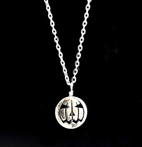 Silver Toned Metal Jack O Lantern Pendant Necklace for -