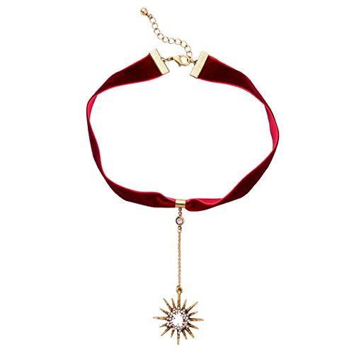 AILUOR Fashion Velvet Sun Flower Necklace, Vintage Crystal Rhinestone Choker Chain Pendant for Women Girl Jewelry ()