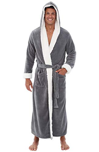 Alexander Del Rossa Mens Fleece Robe, Long Hooded Bathrobe, Large XL Steel Grey with Sherpa Accents (A0262STLXL)