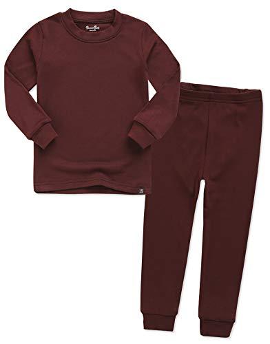 VAENAIT BABY Kids Long Sleeve Modal Sleepwear Pajamas 2pcs Set Modal Darkbrown XL