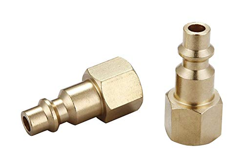 Air hose fittings and Air Coupler Plug: Air Compressor Quick-Connect FNPT Female Plug Kit (Industrial Type D, 1/4-Inch NPT Female Thread, Solid Brass, 2 Piece)