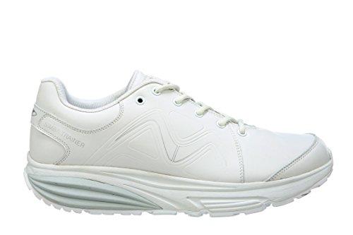 MBT Shoes Männer Simba Trainer Sportschuh Leder / Mesh-Schnürschuh Weißsilber