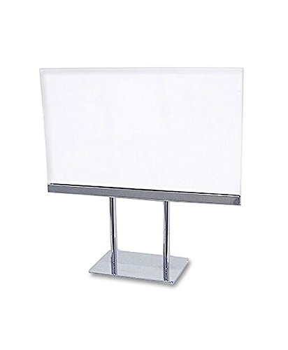 AMKO SHPK57 Acrylic Sign Holder, Chrome Base, Provides 2-Sided Message Displaying, Flat Base Sign Holder Maintains Acrylic-like Clarity Durable Construction (Pack of (Flat Base Sign Holder)