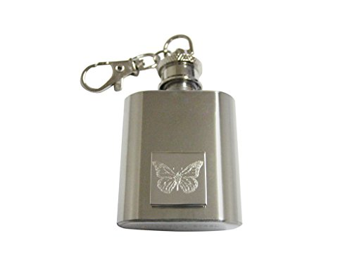 Silver Toned Etched Simple Butterfly Bug 1 Oz. Stainless Steel Key Chain Flask Etched Butterfly Pendant