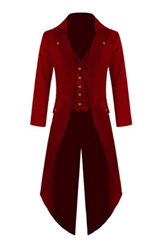YUNY Mens Irregular Coattail Single-Breasted Plus Size Lapel Solid Color Outwear Red -