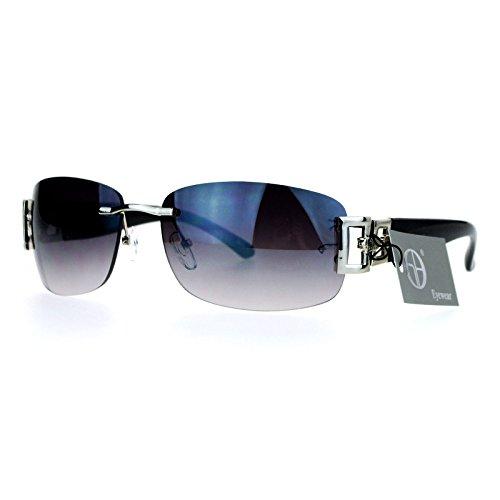 (SA106 Luxury Rimless Art Deco Metal Chain Designer Sunglasses Silver Black)