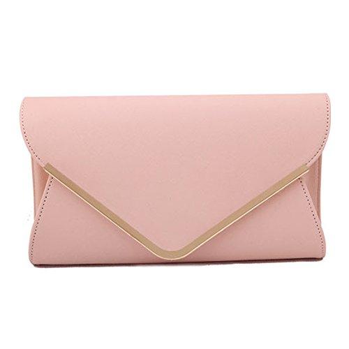 UNYU Womens Large Leather Envelope Clutch Bag Ladies Shoulder Evening Prom Wedding Handbag Pink
