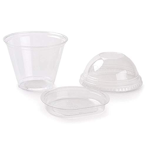 Pack of 25 Clear Plastic Parfait Cup 9 oz with Insert and Dome - 9 Oz Granola